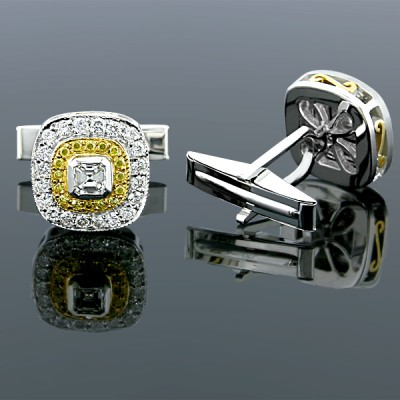 Yelllow Canary White Diamond Cufflinks