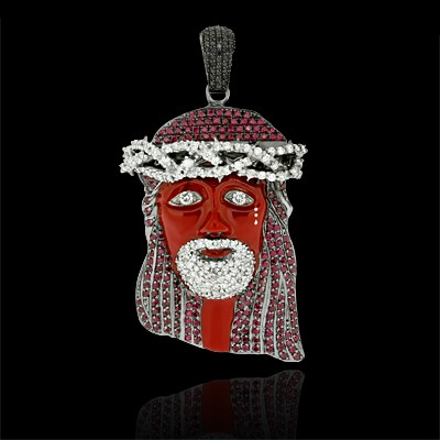 White, Black & Red Diamond Tear Drop Jesus Pendant White & Black Gold Micro Pave'