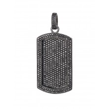 Flooded All Black Diamond Dog Tag Pendant