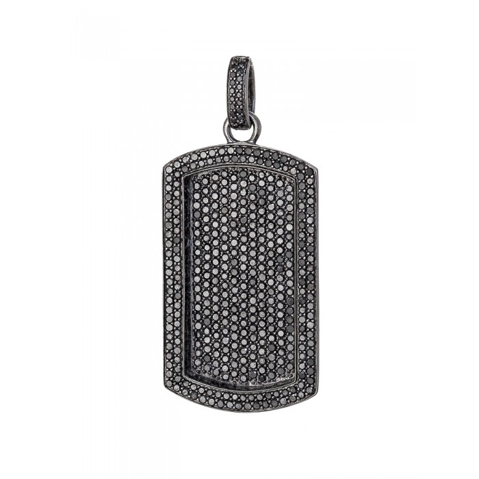 Flooded all black diamond dog tag pendant mozeypictures Images