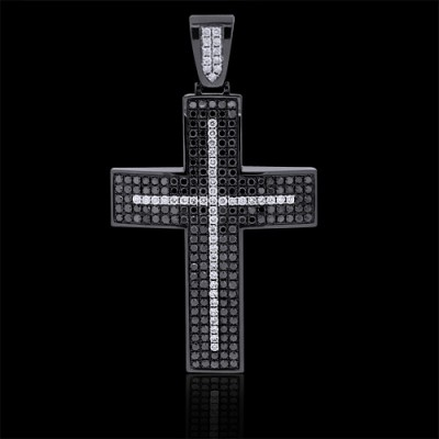 White & Black Pendant Black 10K Gold 9.78 ct Pave' 29.6 g