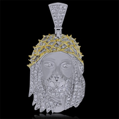 Diamond Jesus Head Pendant White & Yellow 10K Gold 3.9 ct. Pave' & Bezel 19.8 g