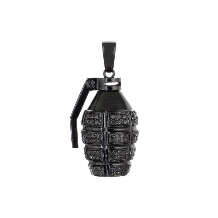 black grenade pendant in black gold
