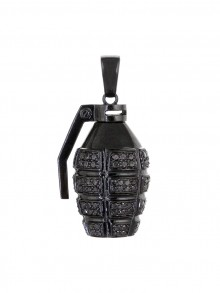 Black Diamond Grenade Pendant In Black Gold