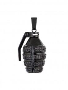 Black Diamond Grenade Pendant In Black Gold