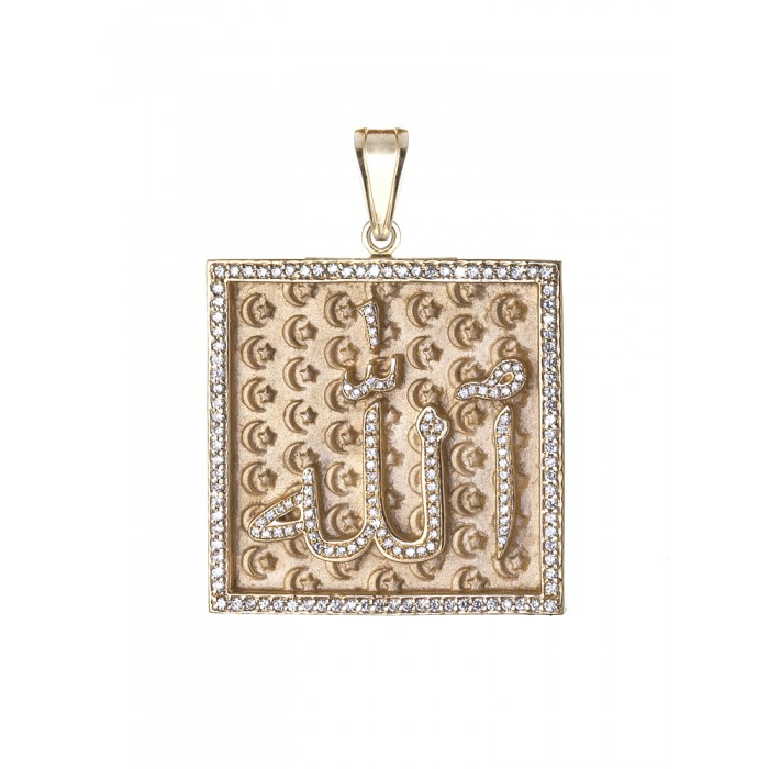 Gold diamond allah pendant solid gold diamond allah pendant mozeypictures Choice Image