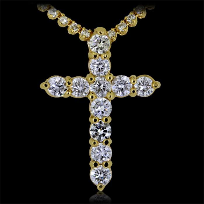 Diamond cross pendant yellow 14k gold 55 ct prong 72 g aloadofball Choice Image