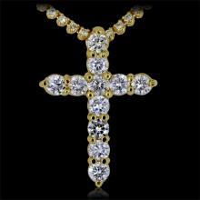 Diamond Cross Pendant Yellow 14K Gold 5.5 ct Prong 7.2 g