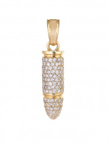 Solid 14K Gold Diamond Bullet Pendant In Micro Pave'