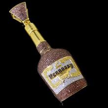 Multicolored Diamond Hennessy Pendant White Gold Micro Pave'