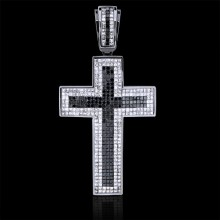 Black & White Diamond Cross Pendant White 14K Gold 5.55 ct & 4.83 ct Invis 22.58 g