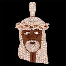 Diamond Brown Jesus Head Pendant Rose 10K Gold 15 ct. Pave' 143.7 gr