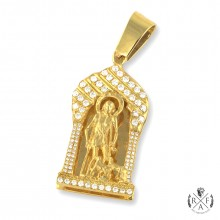 14K Gold Saint Lazarus Pendant with Diamond Pave' Set