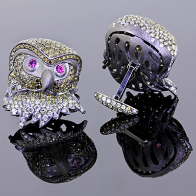 Yellow White Diamond Owl Cufflinks