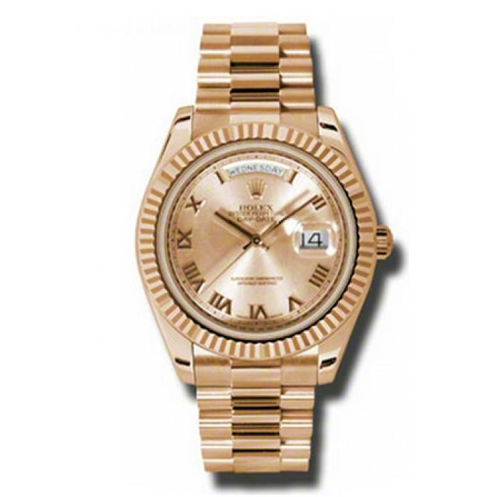 Rolex Day-Date II President Rose Gold - Fluted Bezel