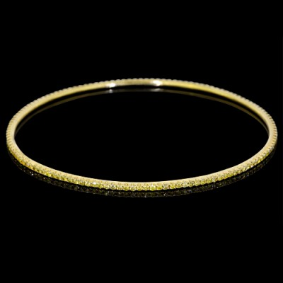 Yellow Diamond Bangle Yellow 18K Gold 2.16 ct Pave' 10 g