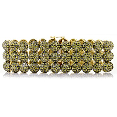 Yellow Diamond Tennis Bracelet Yellow 10K Gold 29.09 ct Pave' 67 g