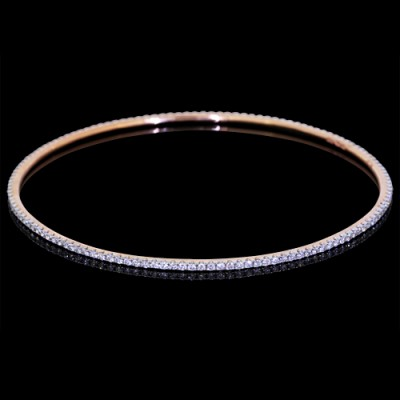 Diamond Single Bangle Rose 18K Gold 2.06 ct Pave'