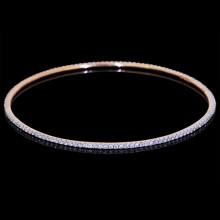 Diamond Single Bangle Rose 18K Gold 2.06 ct Pave'
