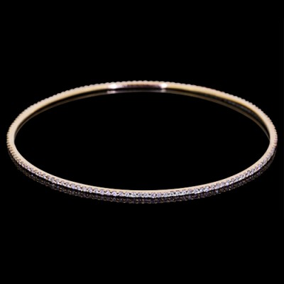 Diamond Bangle Rose 18K Gold 3.5 ct Pave' 4.4 g