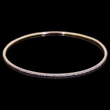 Diamond Bangle Rose 18K Gold 3.5 ct Pave' 4.4 g