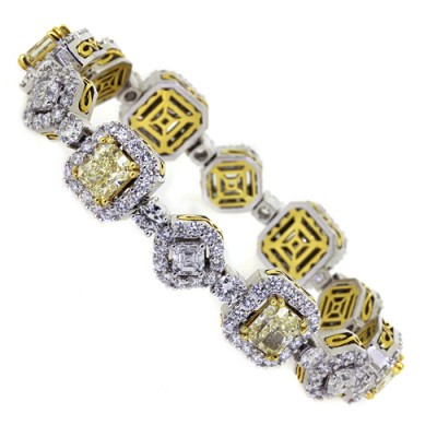White & Yellow Diamond Tennis Bracelet White Platinum 12ct & 12.45ct Pave' & Prong 84 g