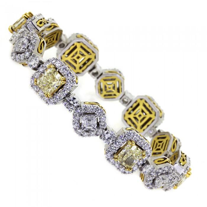 White Yellow Diamond Tennis Bracelet Platinum 12ct 12 45ct Pave G 84