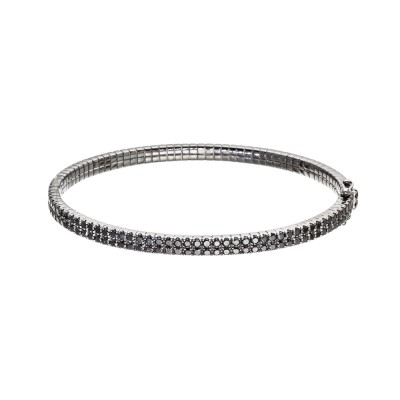 Black Diamond Bangle Bracelet French Cut 2-Rows Setting