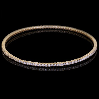 White Diamond Single Bangle Bracelet