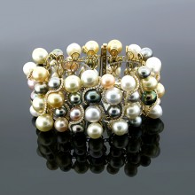 Multicolored Diamond & Pearl Bangle Yellow Gold Prong & MicroPave'
