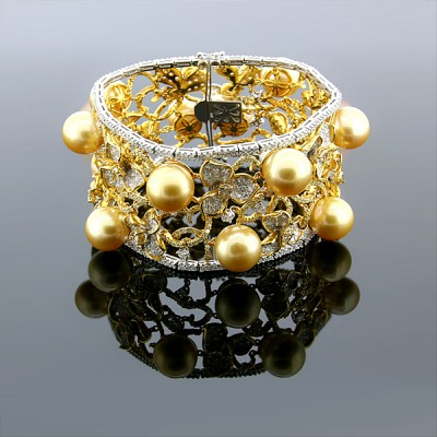 White & Yellow Diamond & Pearl Flower Design Bangle White & Yellow Gold Prong & MicroPave'