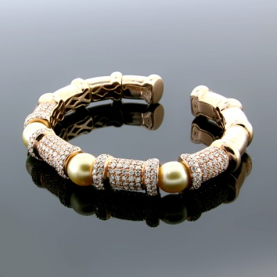White & Yellow Diamond & Pearl Bangle Yellow Gold Prong & MicroPave'