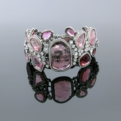 White & Pink Diamond Bangle White Gold Pave' & MicroPave'