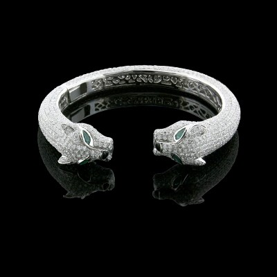 White & Green Diamond & Emerald Bangle White Gold Prong & MicroPave'