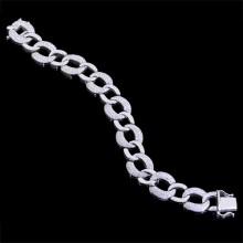 Diamond Tennis Bracelet White 18K Gold 5.51 ct Pave' 50.28 g