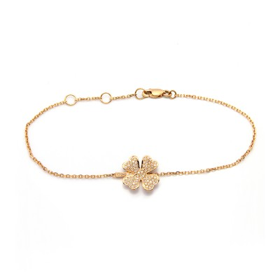 Four-Leaf Clover Diamond Bracelet