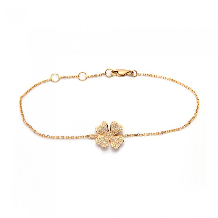 New Four-Leaf Clover Diamond Bracelet FR94