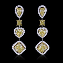 White & Yellow Canary Diamond Earrings White & Yellow 18K Gold 2.15 ct./4.35 ct., 3.08 ct./1.40 ct. & 1.50 ct. Prong & Pave' 12.2 g