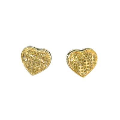 Yellow Diamond Stud Earrings Yellow 10K Gold Dia: 0.2 g & Gold: 1.35 g