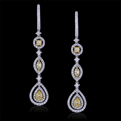White & Yellow Diamond Earrings White 18K Gold Yellow: 0.72 ct & White: 1.9ct Prong & Pave' 7 g