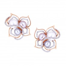 Diamond & Pearl Stud Earrings White & Rose Gold