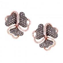 White & Brown Diamond Stud Earrings Rose Gold