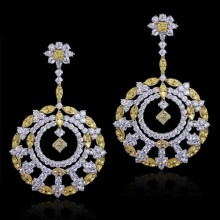 White & Yellow Diamond Earrings White & Yellow 18K Gold 4.62 ct., 31.28 ct. & 15.84 ct. Prong 77.7 g