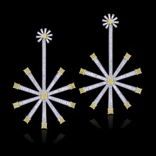 Yellow Canary & Diamond Earrings White & Yellow 18K Gold 10.46 ct. & 8.11 ct. Chanel & Prong 28.45 g