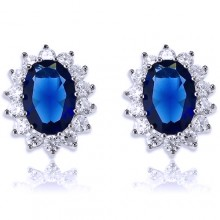 White & Blue Diamond & Sapphire Stud Earrings White Gold
