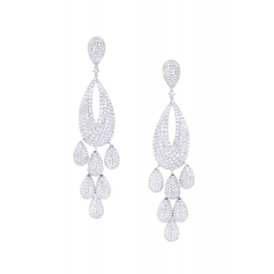 Diamond Earrings White Gold Micro Pave'