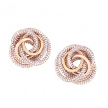 Knot Earrings In White Diamond Pave'