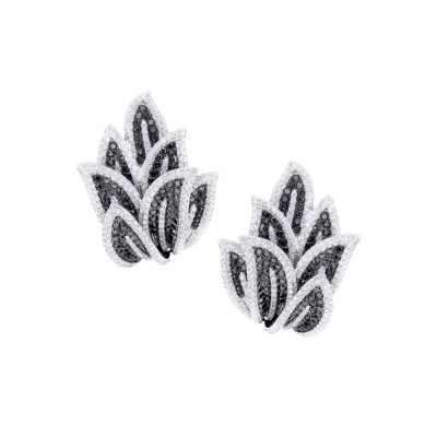 White & Black Diamond Stud Earrings White 18K Gold 3.86 ct. & 3.58 ct. 28.7 g