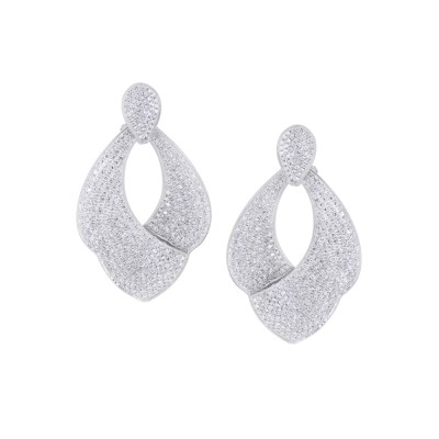 Diamond Earrings White 18K Gold 4.68 ct. Pave' 20.9 g