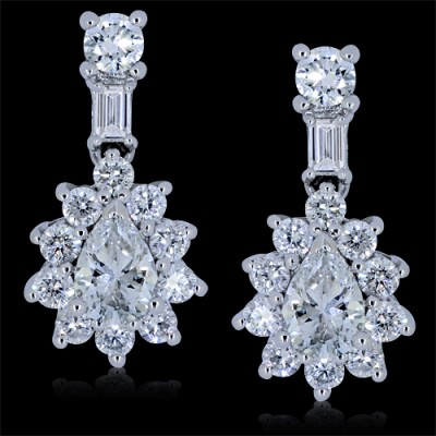 Diamond Floral Stud Earrings White Gold Pave'